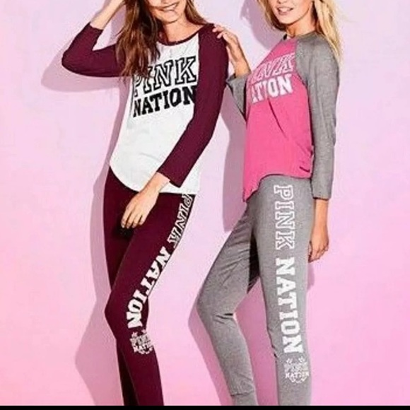 ad11424aa46ab Pink Victoria Secret Gym Pants and Baseball Tee